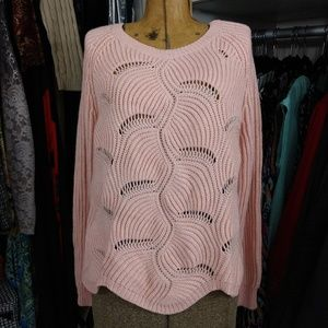 NWT A New Day Pink Metallic Openwork Pullover
